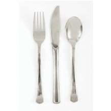 Metallic Silver Cutlery - Assorted (18pcs)